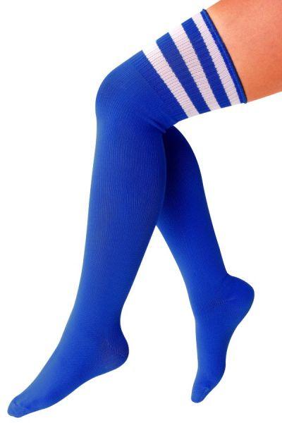 Long knee stcks cobalt with three white stripes