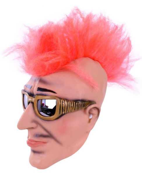 Mask punk rocker with sunglasses and cockscomb
