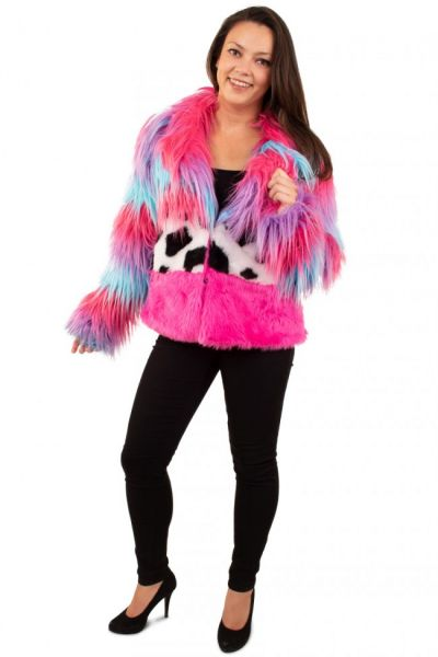 Fur coat long hair color mix lady