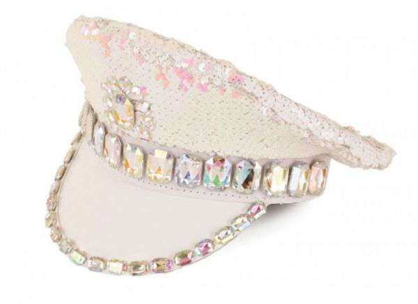 White cap metallic with stones