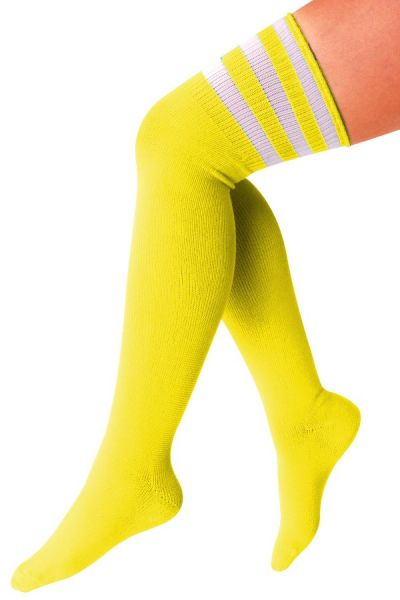 Long knee socks yellow with 3 white stripes