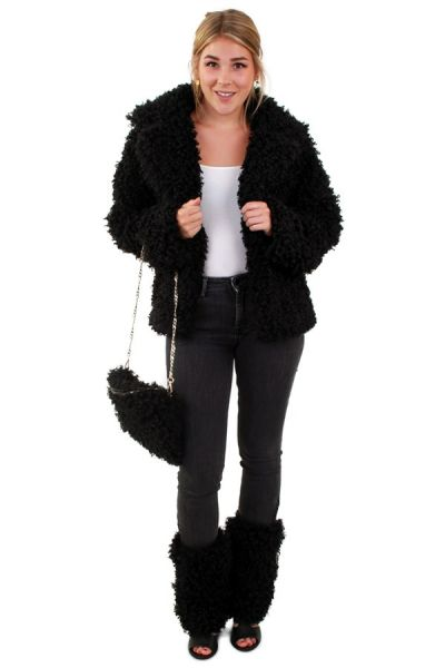 Fur coat short curly black