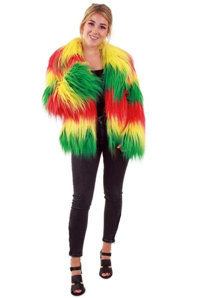 Fur coat long hair red yellow green lady