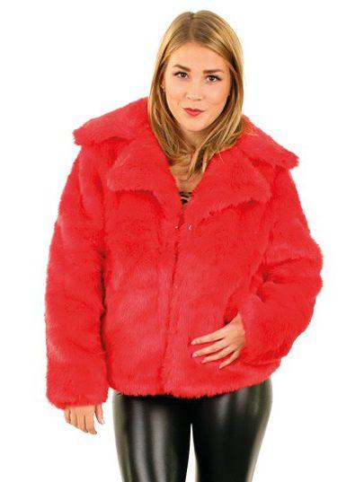 Ladies Fur Coat red
