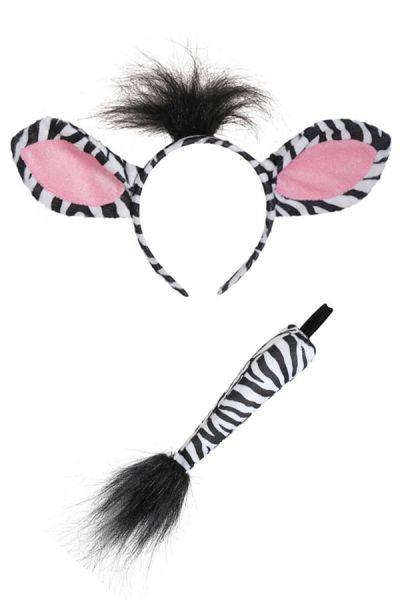 Zebra hairband with tail