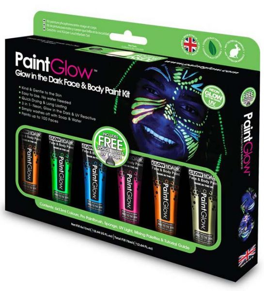 PaintGlow Glow in the Dark Face and Body Paint kit