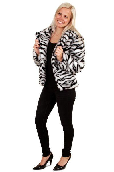 Ladies fur coat zebra print