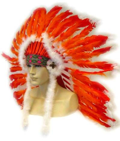 Indian headdress red - orange with white tails