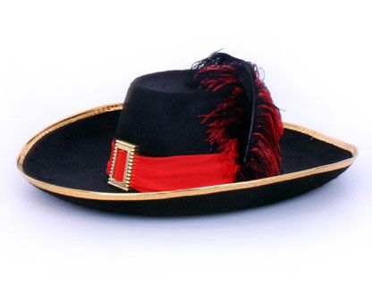 Musketeer hat black with red with band and feather