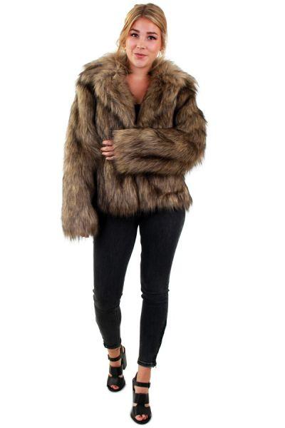 Fur coat long hair brown lady