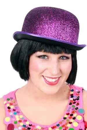 Bowler hat glitter purple of lurex