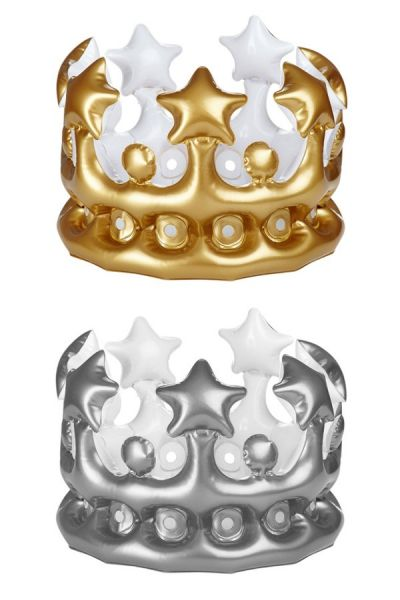 6 inflatable crowns silver gold