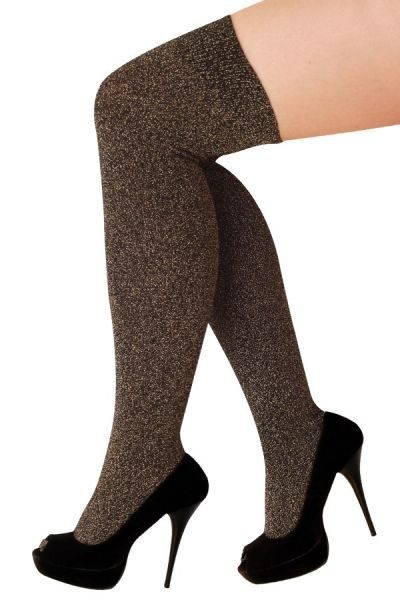 Stay-up stockings lurex gold