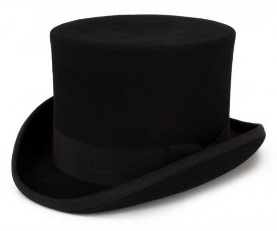 Black wool wool top hat
