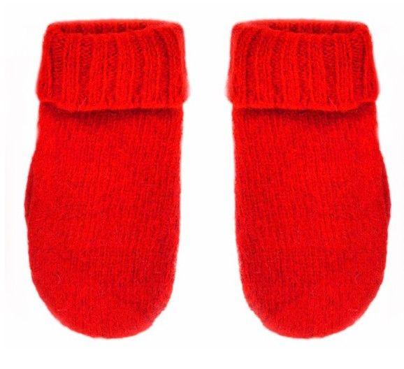Knitted mittens children red