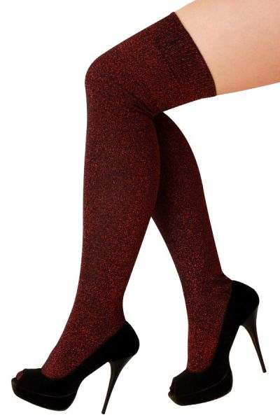 Stay-up stockings lurex red