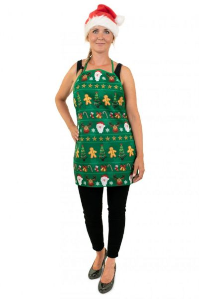 Christmas kitchen apron green with print