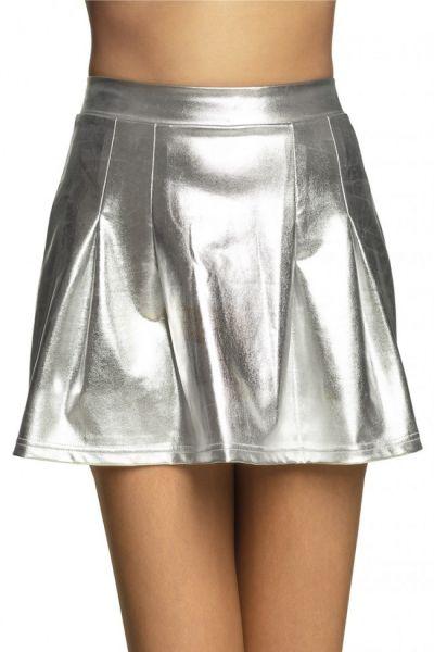 Mini skirt Shiny silver