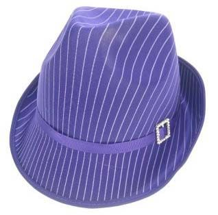 Gangster hat purple with white stripe