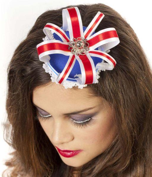 Kroon luxe met haarclips rood - wit - blauw