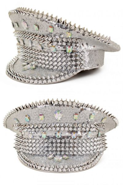 Shiny Bling spikes silver cap