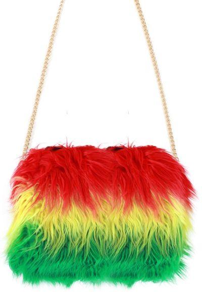 Bag red yellow green long plush