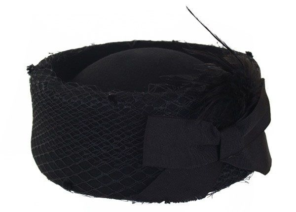 Ladies hat black high model with mesh and bow