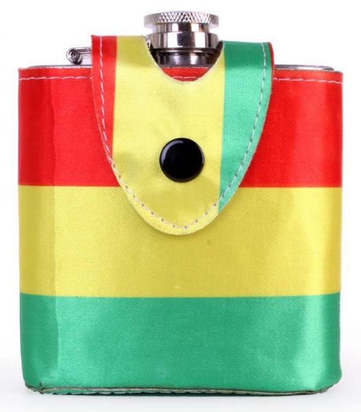 Drinking bottle red yellow green with belt holder