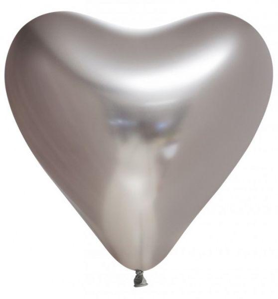 Balloon Heart silver chrome