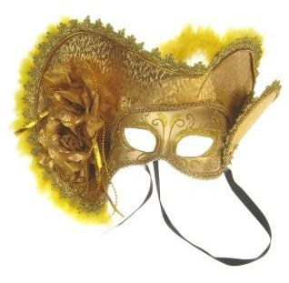 Venetian hat with eye mask gold with hat