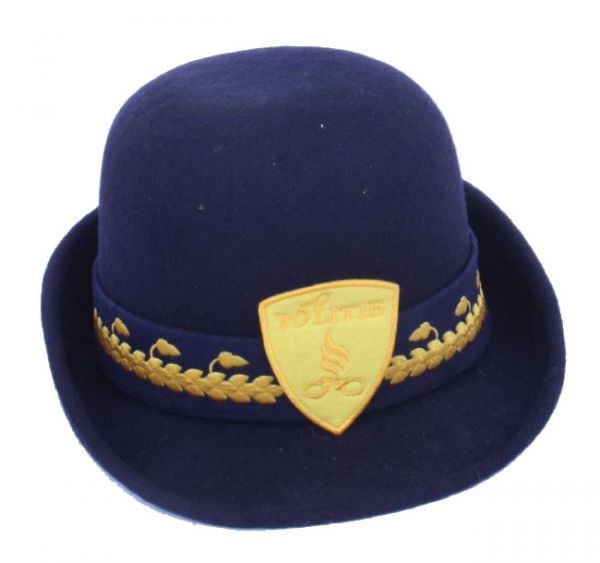 Ladies hat of wool felt blue police