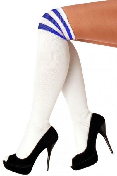 Long knee socks white with 3 blue stripes