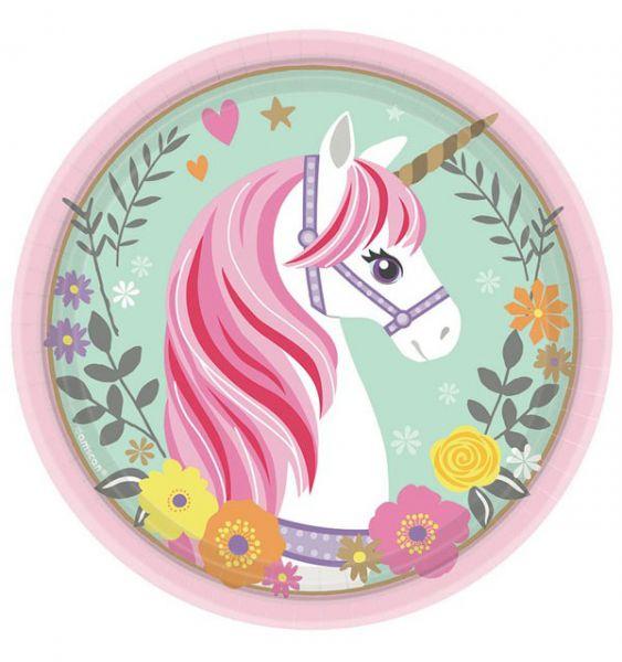 48 Unicorn paper plates