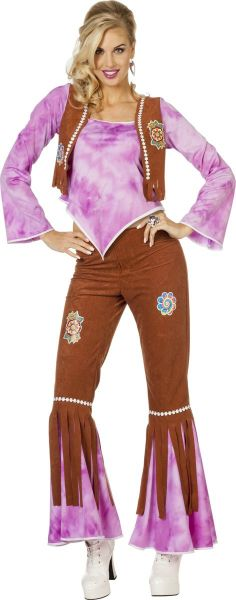 Hippy Flower Power Lady Purple