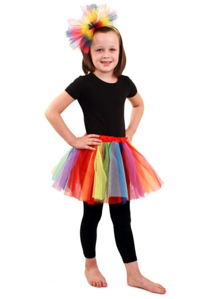 Tulle skirt rainbow with dots girls