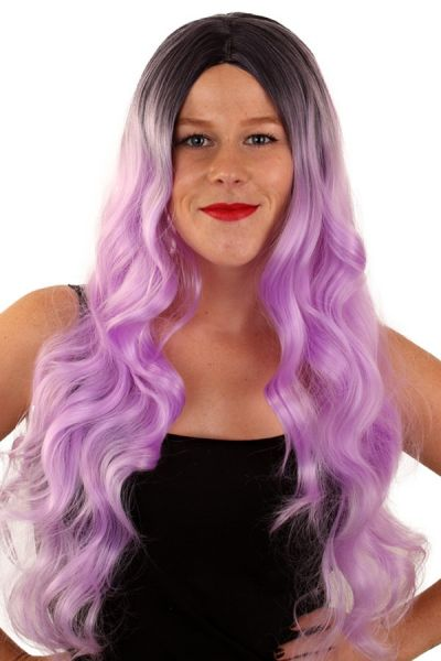 Ladies wig long hair with pink spout