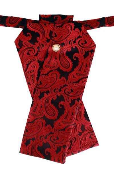 Plastron brocade fabric black red