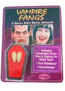 Halloween Vampire teeth 2 pieces in seem coffin