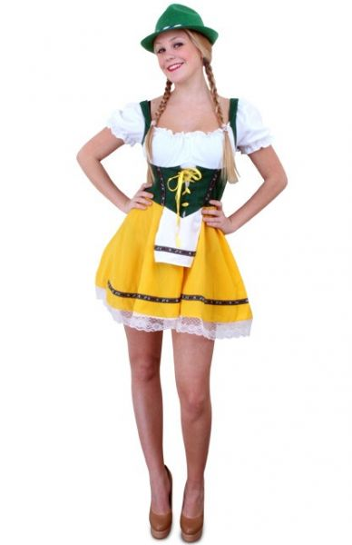 Oktoberfest Tyrolean short dress yellow green