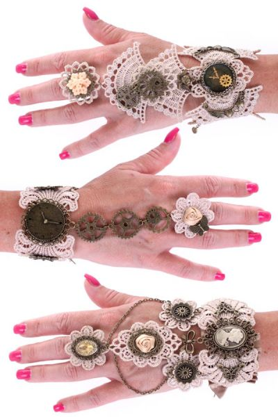3 Steampunk bracelets lace with ring