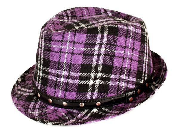 Gangster hat Scottish pane purple