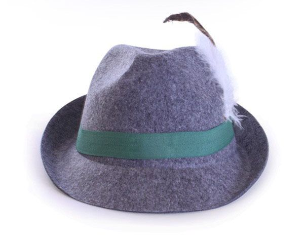 Oktoberfest Tyrolean hat gray wool felt look