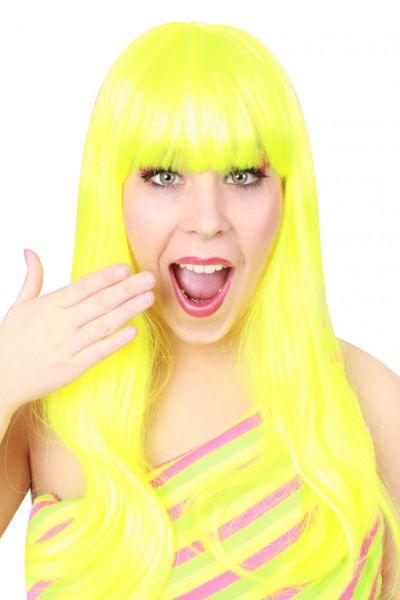 Ladie wig trendy long neon yellow hair