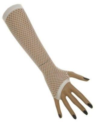 Net gloves long fingerless white