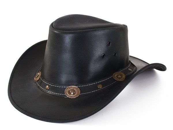 Leather black Cowboy hat