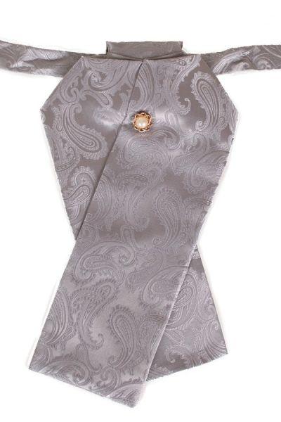 Plastron brocade fabric light gray