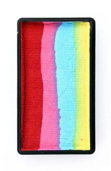 One Stroke split cake red pink turquoise yellow Face Painting PartyXplosion