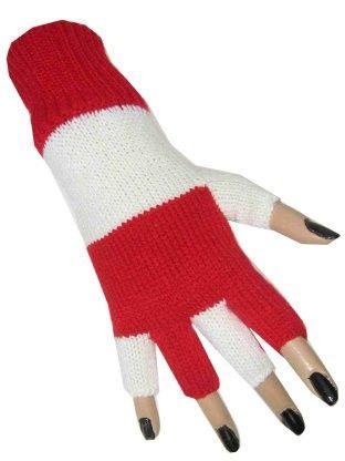 Fingerless gloves red white striped