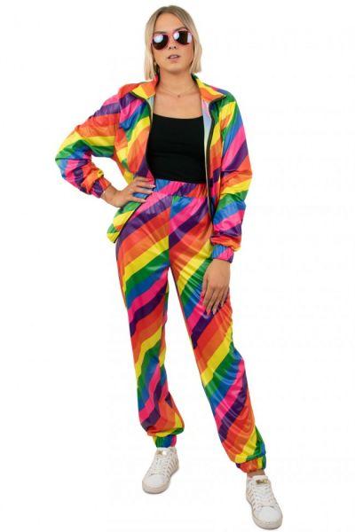 Tracksuit 80s disco rainbow girl