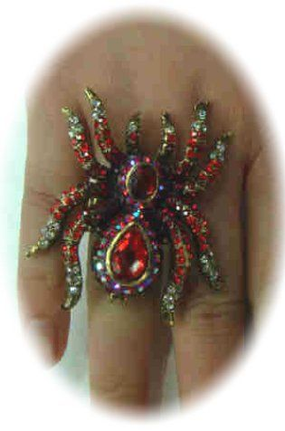 Luxury ring with red spider adjustable
